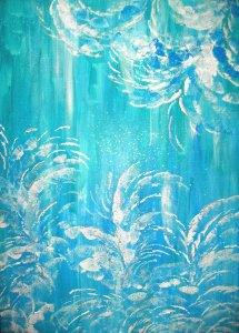 Acrylbild Eisblumen Acrylmalerei Gemälde abstrakte Kunst Wanddekoration blaues Bild  - Handarbeit kaufen