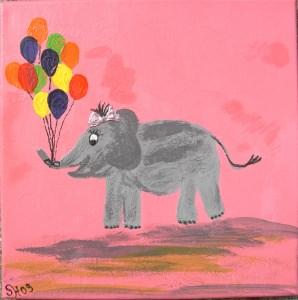 Acrylbild PAULINE ELEFANTENKIND Acrylmalerei Kinderzimmerbild Kunst Malerei Gemälde auf Leinwand HandarbeitGeschenk zur Geburt Elefant - Handarbeit kaufen