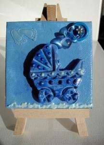 Minibild Kinderwagen blau Taufgeschenk für Jungen Geschenk zur Geburt Babyparty Minibild Acrylbild   - Handarbeit kaufen
