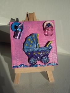 Minibild Kinderwagen blau rosa Taufgeschenk für Jungen und Mädchen Geschenk zur Geburt Babyparty Minibild Acrylbild   - Handarbeit kaufen
