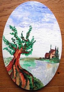 Acrylbild DER OLIVENBAUM Acrylmalerei Baum  Bäumchen Landschaftsmalerei Gemälde Mediterrane Malerei - Handarbeit kaufen
