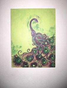 Acrylbild Pfauenkönig Acrylmalerei Gemälde abstrakte Kunst Leinwand  Malerei Pfau Tierbild    - Handarbeit kaufen