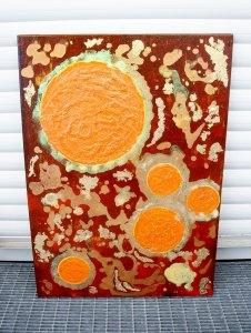 Acrylbild UNIVERSUM ORANGE Acrylmalerei Gemälde abstrakte Kunst Wanddekoration  - Handarbeit kaufen
