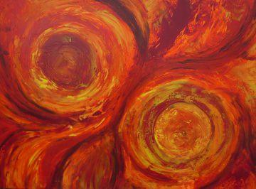 Acrylbild FEUERKREISE Malerei Gemälde Acrylgemälde rotes Bild Handgemalt Unikat abstrakte Malerei  - Handarbeit kaufen