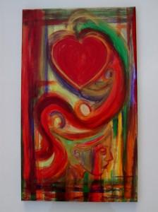 Acrylbild SEHNSUCHT Malerei Gemälde Acrylgemälde Bild Handgemalt Unikat abstrakte Malerei Herzbild Gesicht - Handarbeit kaufen
