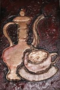 Collage KAFFEEZEIT handgefertigt Acrylbild Malerei Vintage Industrial Shabby Style Küchendeko  - Handarbeit kaufen