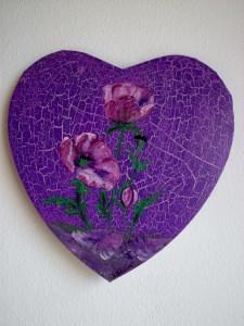 Acrylbild Mohnherz Herz Valentinstag Geschenk Muttertag  Collage Herzbild auf Keilrahmen  Blumen Blüten Mohnblumen