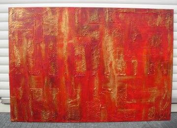 Acrylbild ROTE MAUER Malerei Gemälde Acrylgemälde rotes Bild Handgemalt Unikat abstrakte Malerei  - Handarbeit kaufen