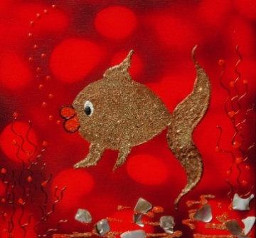 Acrylbild HERR GOLDFISCH Acrylmalerei Kinderzimmerbild Kunst Malerei Gemälde auf Leinwand Handarbeit Geschenk zur Geburt  Fisch Tierbild - Handarbeit kaufen