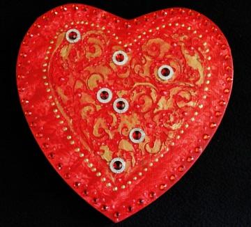 Acrylbild BAROCK IN ROT Herz Herzbild Valentinstag Geschenk Muttertag Acrylbild Collage Bild auf herzförmigem Keilrahmen   - Handarbeit kaufen