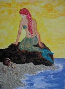 Acrylbild MEERJUNGFRAU Acrylmalerei Kinderzimmerbild Kunst Malerei Gemälde auf Leinwand Handarbeit Geschenk zur Geburt  Mermaid - Handarbeit kaufen