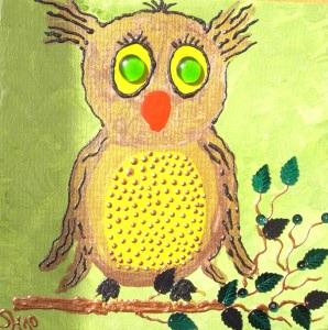 Acrylbild MADAME EULE Acrylmalerei Kinderzimmerbild Kunst Malerei Gemälde auf Leinwand Handarbeit  Tierbild Tiermotiv Eulenbild Geschenk - Handarbeit kaufen