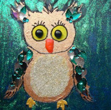 Acrylbild GLITZEREULE Acrylmalerei Kinderzimmerbild Kunst Malerei Gemälde auf Leinwand Handarbeit  Tierbild Tiermotiv Eulenbild Geschenk handgemalt - Handarbeit kaufen