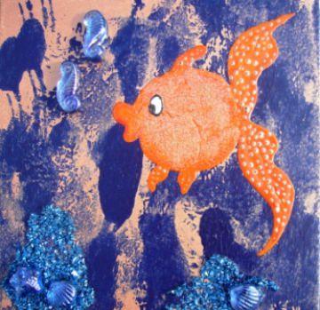 Acrylbild ORANGENFISCH Acrylmalerei Kinderzimmerbild Kunst Malerei Gemälde auf Leinwand Handarbeit Geschenk zur Geburt  Fisch Tierbild naive Malerei