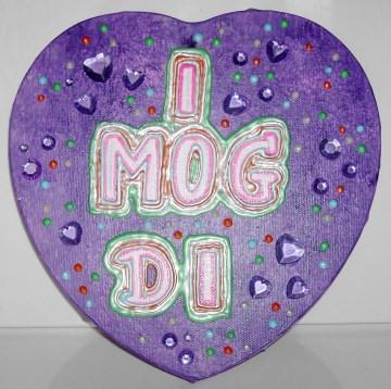 Acrylbild I MOG DI  Herz Valentinstag Geschenk Muttertag  Collage Herzbild auf Keilrahmen  Sprüche Liebeserklärung Geschenk für Verliebte  - Handarbeit kaufen