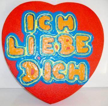 Acrylbild ICH LIEBE DICH Herz Valentinstag Geschenk Muttertag  Collage Herzbild auf Keilrahmen  Sprüche Liebeserklärung Geschenk für Verliebte  - Handarbeit kaufen