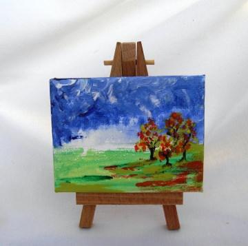 Acrylbild HERBSTWÄLDCHEN Acrylmalerei Gemälde abstrakte Malerei Minibild Keilrahmen Staffelei Landschaftsbild Bäume Wäldchen - Handarbeit kaufen