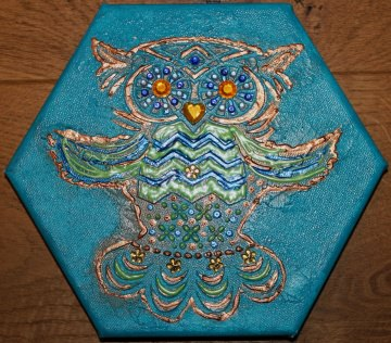 Acrylbild RELIEF-EULE Acrylmalerei Kinderzimmerbild Kunst Malerei Gemälde auf Leinwand Handarbeit  Tierbild Tiermotiv Eulenbild Geschenk handgemalt - Handarbeit kaufen