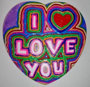 Acrylbild PINK GRAFFITI  Herz Valentinstag Geschenk Muttertag  Collage Herzbild auf Keilrahmen  Sprüche Liebeserklärung Geschenk für Verliebte   - Handarbeit kaufen