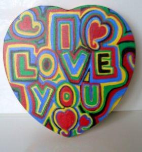 Acrylbild GRAFFITI  Herz Valentinstag Geschenk Muttertag  Collage Herzbild auf Keilrahmen  Sprüche Liebeserklärung Geschenk für Verliebte    - Handarbeit kaufen