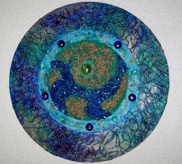 Acrylbild TRUE BLUE Gemälde Malerei rundes Gemälde Geschenk blaues Bild abstrakte Kunst Acrylmalerei - Handarbeit kaufen