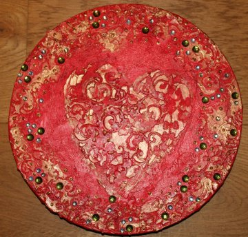 Acrylbild BAROCKHERZ Gemälde Malerei rundes Gemälde Geschenk rotes Bild abstrakte Kunst Acrylmalerei Herz - Handarbeit kaufen