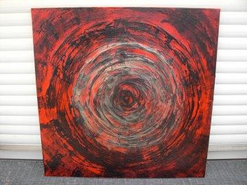 Acrylbild ZEITSPRUNG Acrylmalerei Gemälde abstrakte Malerei Wanddekoration schwarzes Bild  Kunst direkt vom Künstler Malerei rotes Bild auf Keilrahmen Unikat - Handarbeit kaufen