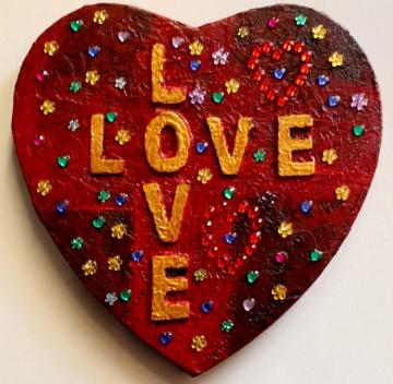 Herzbild LOVE LOVE Valentinstag Geschenk Muttertag Acrylbild Collage Bild auf Keilrahmen Herz Liebeserklärung