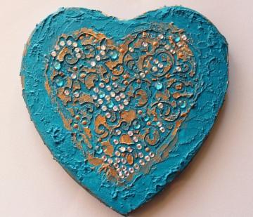 Acrylbild BAROCK IN TÜRKIS Herz Herzbild Valentinstag Geschenk Muttertag Acrylbild Collage Bild auf herzförmigem Keilrahmen Gemälde handgefertigt