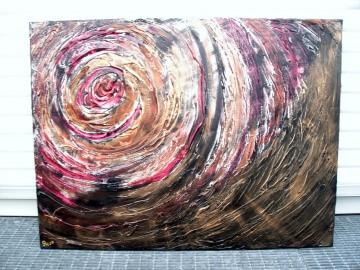 Acrylbild KUPFERWIRBEL Acrylmalerei Gemälde abstrakte Malerei Wanddekoration Bild  Kunst direkt vom Künstler Malerei kupferfarbenes Bild auf Keilrahmen Unikat - Handarbeit kaufen