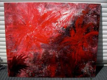 Acrylbild IM ROTEN FARNWALD Acrylmalerei Gemälde Wanddeko abstrakte Kunst Malerei  abstraktes Bild rotes Gemälde