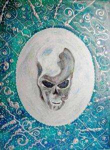 Acrylbild SPIEGLEIN SPIEGLEIN Acrylmalerei Gemälde abstrakte Malerei Wanddekoration Bild  Kunst direkt vom Künstler Malerei Totenkopf Skull Totenkopfbild Gothic Steampunk Totenschä - Handarbeit kaufen