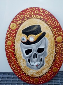 Acrylbild STEAMPUNK GRANDPA Acrylmalerei Gemälde abstrakte Malerei Wanddekoration Bild  Kunst direkt vom Künstler Malerei Totenkopf Skull TotenkopfGothic Steampunk Totenschädel - Handarbeit kaufen