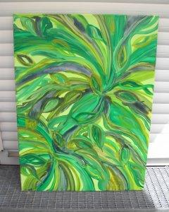 Acrylbild STURM IM BLÄTTERWALD Acrylmalerei Gemälde abstrakte Blüten Wanddekoration grünes Bild abstrakte Blätter Malerei Handarbeit Unikat - Handarbeit kaufen