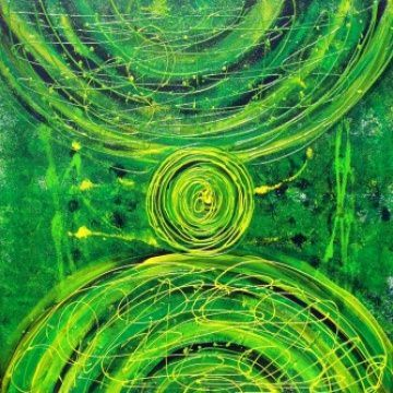 Acrylbild GRÜNER KOSMOS Acrylmalerei Gemälde abstrakte Malerei Wanddekoration grünes Bild  Kunst direkt vom Künstler auf Keilrahmen Unikat - Handarbeit kaufen