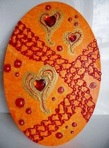 Acrylbild FLIEGENDE HERZEN Acrylmalerei Gemälde abstrakte Malerei  Collage Muttertag Herzbild Valentinstag - Handarbeit kaufen