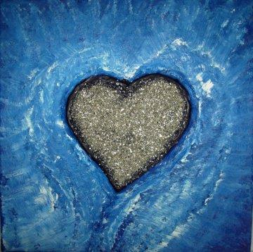 Acrylbild SILBERHERZ Collage Herzbild handgefertigtes Geschenk zum Valentinstag Muttertag Jahrestag Herz Herzbild blaues Bild - Handarbeit kaufen