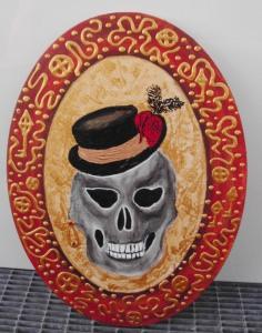 Acrylbild STEAMPUNK GRANNY Acrylmalerei Gemälde abstrakte Malerei Wanddekoration Bild  Kunst direkt vom Künstler Malerei Totenkopf Skull TotenkopfGothic Steampunk Totenschädel - Handarbeit kaufen