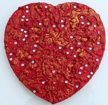 Acrylbild ROTES GLITZERHERZ  Herz Herzbild Valentinstag Geschenk Muttertag Acrylbild Collage Bild auf herzförmigem Keilrahmen  - Handarbeit kaufen