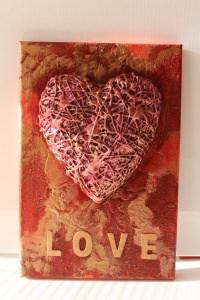 Acrylbild LOVE Herz Herzbild Valentinstag Geschenk Muttertag Acrylbild Collage Bild Herz Malerei rotes Bild - Handarbeit kaufen