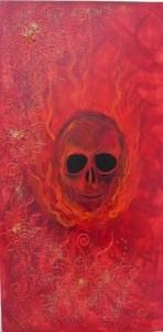 Acrylbild FLAMING SKULL Acrylmalerei Gemälde abstrakte Malerei Wanddekoration Bild  Kunst direkt vom Künstler Malerei Totenkopf Skull Totenkopf Gothic Totenschädel  - Handarbeit kaufen