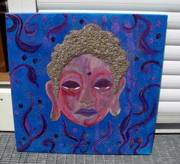 Acrylbild DREAMING BUDDHA Malerei Gemälde Acrylgemälde Bild Handgemalt Unikat abstrakte Malerei naive Malerei - Handarbeit kaufen