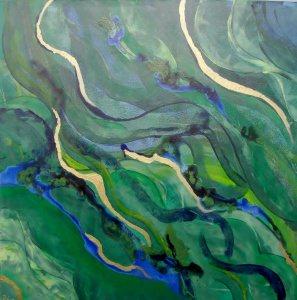 Acrylbild THE WAVE Acrylmalerei Gemälde Wanddeko abstrakte Kunst  Malerei  abstraktes Bild blaugrünes Gemälde  - Handarbeit kaufen