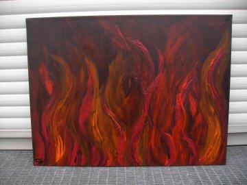 Acrylbild NACHT IN FLAMMEN Acrylmalerei Gemälde abstrakte Malerei Wanddekoration schwarzes Bild  Kunst direkt vom Künstler Malerei Bild auf Keilrahmen - Handarbeit kaufen