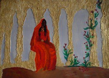 Acrylbild DREAMING INDIRA Acrylmalerei Gemälde abstrakte Kunst Wanddekoration  orientalisches Bild indisches Bild Malerei - Handarbeit kaufen