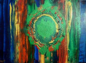 Acrylbild LEBENSQUELL Acrylmalerei Gemälde abstrakte Kunst Wanddekoration blaues Bild buntes Gemälde Malerei Handarbeit Handsigniert  - Handarbeit kaufen
