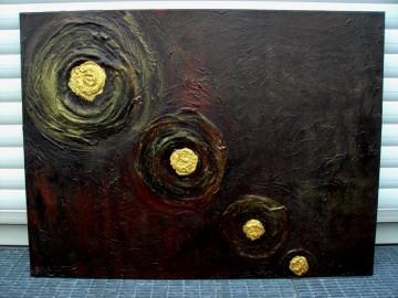 Acrylbild GOLDUNIVERSUM Acrylmalerei Gemälde abstrakte Malerei Wanddekoration  Handarbeit Unikat signiert - Handarbeit kaufen