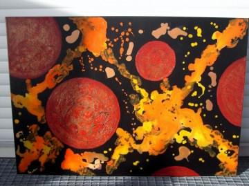 Acrylbild ROTES ALL Acrylmalerei Gemälde Wanddeko abstrakte Kunst Malerei  abstraktes Bild Gemälde  - Handarbeit kaufen
