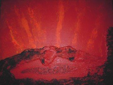 Acrylbild LAVASEE Acrylmalerei Gemälde abstrakte Malerei Wanddekoration rotes Bild  Handarbeit Unikat signiert  - Handarbeit kaufen