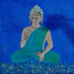 Acrylbild PEACE Malerei Gemälde Acrylgemälde Bild Handgemalt Unikat abstrakte Malerei naive Malerei Buddha orientalisches asiatisches  Bild - Handarbeit kaufen